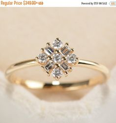 Valentine day Sale Snowflake Diamond Ring in 14K Rose by RingOnly