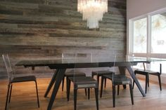 Reclaimed barnboard feature wall