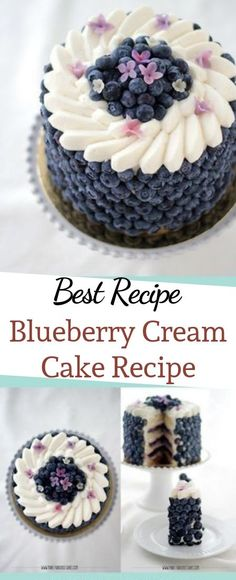 Blueberry Cream Cake Recipe by Make Fabulous Cakes - christmas - Kuchen Beaux Desserts, Köstliche Desserts, Dessert Recipes, Recipes For Cakes, Wedding Cake Recipes, Cake Filling Recipes, Sweets Recipe, Homemade Cake Recipes, Delicious Cake Recipes