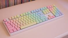 [photos] Geekkeys Rainbow PBT on my Ducky Shine II. Study Room Decor, Cute Room Decor, Kawaii Room, Game Room Design, Rainbow Aesthetic, White Aesthetic, Cute School Supplies, Gamer Room, Pretty Pastel