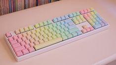 White Ducky Shine II, Geekkeys rainbow keycap set.