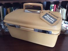 vintage luggage ...  Tan Golden SAMSONITE 70s by LandLockedCottage