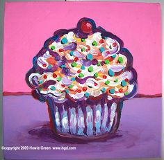 Pop Art Cupcake Miniature Painting Original Art