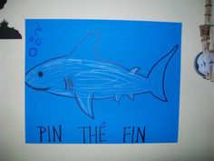 My family and I have an obsession with Shark week! We played games and made shark/ocean themed food. Here is one game- 'Pin The Fin' LOL My family and I have an obsession with Shark week! We played games and made shark/ocean Birthday Party Games, 6th Birthday Parties, Boy Birthday, Birthday Ideas, Third Birthday, Birthday Celebration, Ocean Party, Shark Party, Beach Party