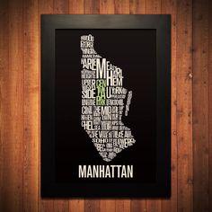 MANHATTAN New York City Typography Map Print  12 by FlyingJunction, $20.00