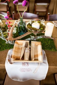 """Love the bib!- """"Good Food, Good Friends, Good Times"""". See these gorgeous photos by Molly Magee @intimatewedding #reception #tabledecor #bohowedding"""