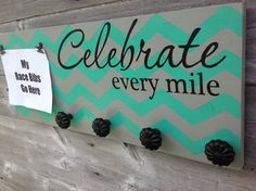 Race bib running medal holder and display running gift CELEBRATE EVERY MILE Chevron with medal holders black on Etsy, $50.00