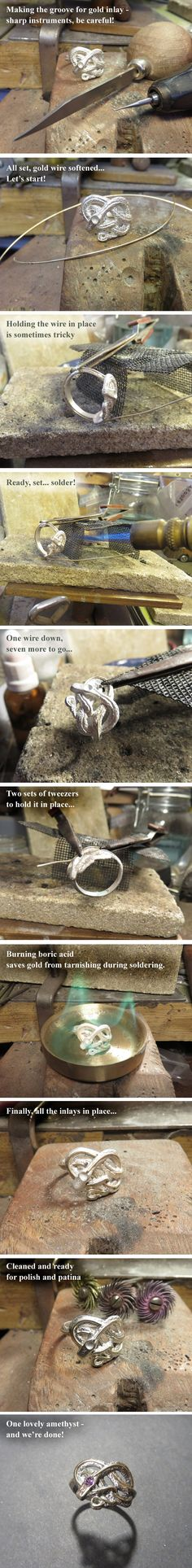 Snake Ring Inlay - in Progress by GeshaR on DeviantArt See the finished ring here: https://www.etsy.com/il-en/listing/269142106/knotted-snake-ring-sterling-silver-snake?ref=listings_manager_grid  Without gold: https://www.etsy.com/il-en/listing/269139372/sapphire-knotted-snake-ring-sterling?ga_search_query=snake&ref=shop_items_search_4