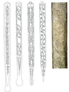 Celtic knot patterns on sword scabbards Tribal Tattoos, Celtic Tattoos, Tattoos Skull, Wing Tattoos, Sleeve Tattoos, Cuff Tattoo, Sword Tattoo, Celtic Symbols, Celtic Art