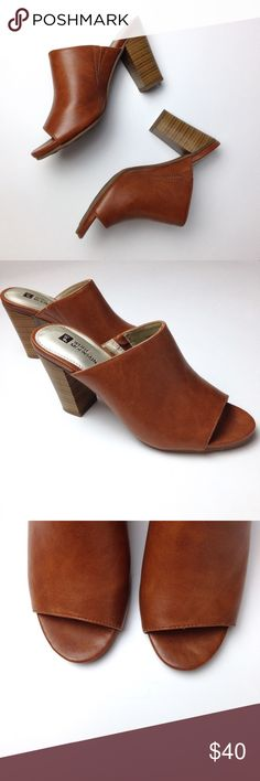 Vegan Leather Mules Trendy Carmel vegan Leather mules, size 7. Stacked wooden heel. Peep toe. Padded insole for comfort. Worn once perfect like new condition Shoes Mules & Clogs