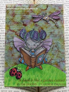 'Bookworm' ATC, using Bindie from A&T Emerald Faeries, Wicked Wednesday ATC Challenge #144