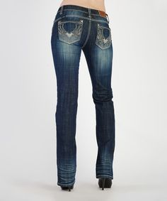 Look at this Dark Stone Wash Night Flight Bootcut Jeans - Women on #zulily today!