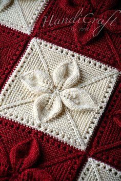 Knitted red and beige blanket for baby. Hand by HandiCraftbyJane