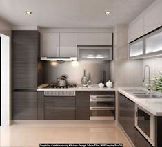 Easy Inspiring Contemporary Kitchen Design Ideas That Will Inspire You Kitchen Room Design, Kitchen Sets, Living Room Kitchen, Kitchen Layout, Interior Design Kitchen, Modern Interior Design, New Kitchen, Kitchen Decor, Kitchen Small