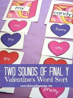 Two Sounds of Final Y - a FREE Valentines Word Sort - This Reading Mama