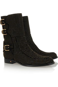 Heel measures approximately 1 inches Black suede Pull on Studded Boots, Leather Interior, Smooth Leather, Black Suede, Bucket Bag, Calves, Studs, Saint Laurent, Slip On