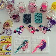pajaritos con hama beads, hama mini, perler, etc