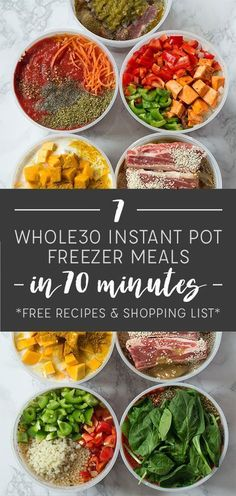 Make 7 Instant Pot Freezer Meals in 70 Minutes with These Free Recipes and Shopping List. Make 7 Instant Pot Freezer Meals in 70 Minutes with These Free Recipes and Shopping List. Paleo Freezer Meals, Dump Meals, Make Ahead Meals, Freezer Cooking, Healthy Crockpot Recipes, Easy Meals, Inexpensive Meals, Frugal Meals, Paleo Recipes