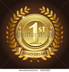 1st golden anniversary wreath ribbon logo - stock vector