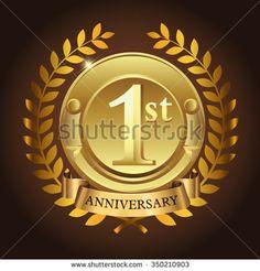 1st golden anniversary wreath ribbon logo - stock vector