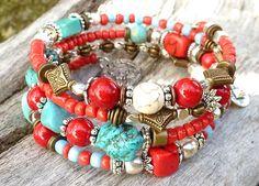 Memory Bracelet gypsy style. 4 rows. by DesignLA on Etsy