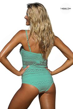 Fashion Deals // This beautiful magic mint lace halter swimsuit is the perfect choice if you're looking for a swimwear that's timeless and sexy.