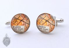 Paris France Antique Map Cufflinks - Perfect gift for a romatic man. Paris France, Goth Chic, Gothic Fashion, Simple Designs, Cufflinks, Monogram, Map, Antiques, How To Make