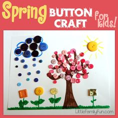Fun spring craft for kids made with BUTTONS!