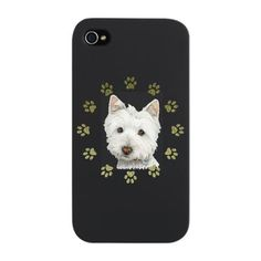 Cute Westie dog and paw prints art iPhone snap case for Westie lovers