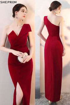 f78c0237 15% OFF, Sexy Slit Burgundy Fitted Prom Dress with One Shoulder #HTX86001 at