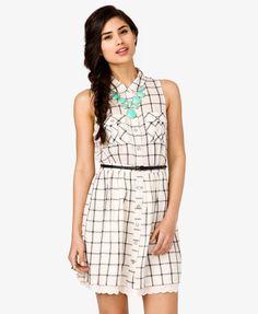 Belted Grid Pattern Dress | FOREVER21 - 2000047993