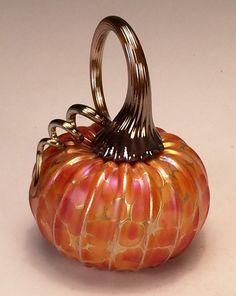 Jack Pine Hand Blown Glass Pumpkin Small Orange by jackpinestudios