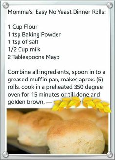 Mama's Easy No Yeast Dinner Rolls Bread Machine Recipes, Bread Recipes, Baking Recipes, Biscuit Bread, Biscuit Recipe, No Yeast Dinner Rolls, Yeast Rolls, Bread Rolls, Scones