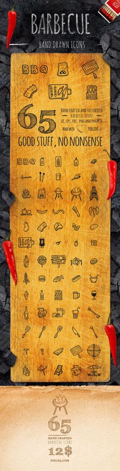 Here is a real smoking hot treat! 65 Hand Drawn Vector icons all about BBQ, eating grilled food and having …