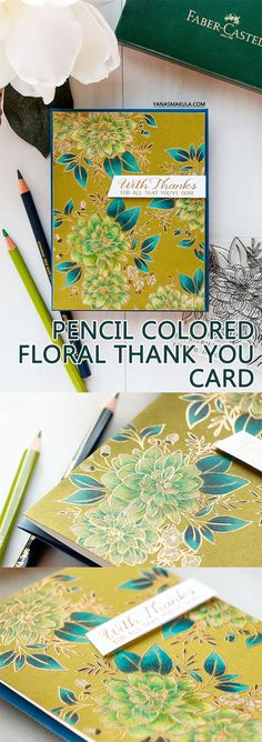 22 Nov 2017 | Yana Smakula | WPlus9 | Pencil Colored Floral Thank You Card |
