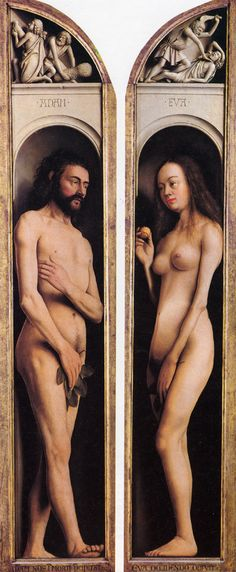 Adam en Eva  Jan van Eyck, the way he lifts his feet is very special during that time. But what happened to Eve?? :-/