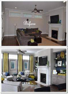 Great idea for the basement. Difficult windows are lengthened with floor to ceiling drapes and excellent placement of artwork.  ---Also notice that the pictures almost look like windows when they are within the drapes. Making the space look less closed it.