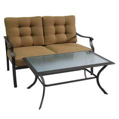 2-Piece Eastmoreland Brown/Tan Steel Patio Loveseat and Coffee Table Set with Solid Brown/Tan Cushions