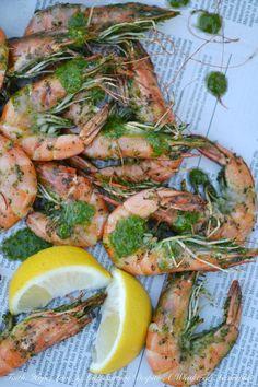 Grilled Chimichurri Whole Shrimp