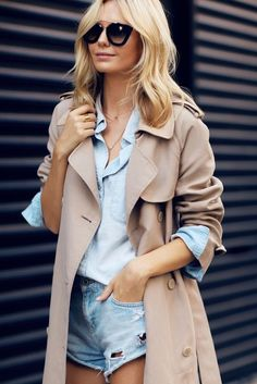 denim on denim with camel trench coat layered