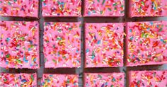 These thick, chewy frosted sugar cookie bars are loaded with sprinkles and topped with a thick layer of rich butter cream frosting.