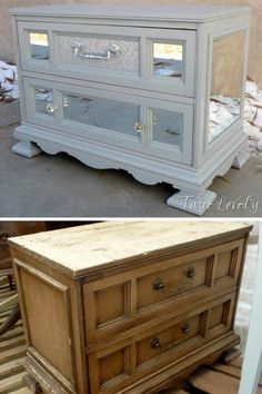 Mirrored Chest – I rescued this cute little 2 drawer chest on the side of the ro… - DIY Möbel Diy Furniture Projects, Paint Furniture, Furniture Makeover, Cool Furniture, Diy Projects, Diy Furniture Refinishing, Diy Mirrored Furniture, Bedroom Furniture, Mirrored Dresser