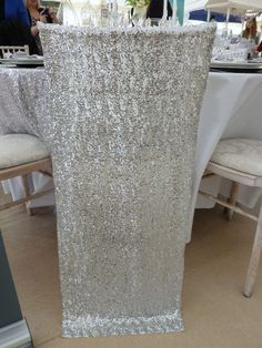 Sequin chair veil designed and supplied by Simply Bows and Chair Covers Wedding Chair Decorations, Wedding Chairs, Small Bean Bag Chairs, Chair Bows, Party Chairs, Centre Pieces, Chair Covers, Modern Chairs, Table Centerpieces
