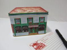 Vintage Tin Recipe Box with Cards and by littlewoodenhouse on Etsy