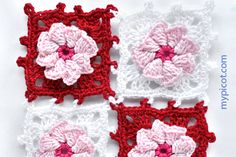 Square flower crochet motif - tutorial and diagram at MyPicot | Free crochet patterns