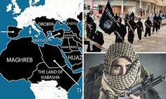 """""""WARNING: ISIS unveils horrifying map of countries it wants to dominate in Europe by 2020"""" By JAKE BURMAN. BBC reporter Andrew Hosken – who includes the map of the targeted areas in his new book – said ISIS wants """"to take over all of what they see as the Islamic world."""" The author reveals how in 1996 Abu Musab al-Zarqawi, who founded the depraved terror group which eventually became ISIS, described a seven-step programme that would lead the organisation to victory by 2020."""