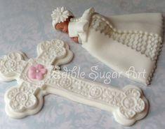 Kreuz CHRISTENING CAKE TOPPER Fondant Cake Topper Diamond studded Baby Kleid Kommunion Kleid Taufe