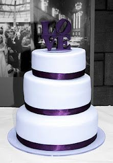 Simple Purple Wedding Cake with LOVE cake topper