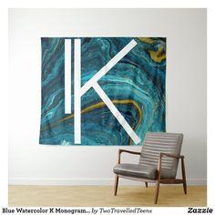 Blue Watercolor K Monogram Tapestry Marble Tapestry, Christmas Card Holders, Bed Spreads, Vivid Colors, Picnic Blanket, Monogram, Watercolor, Artwork, Prints