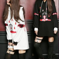 Black/White Gothic Caged Love Oversized Long Version Fleece Hoodie Jumper SP178939